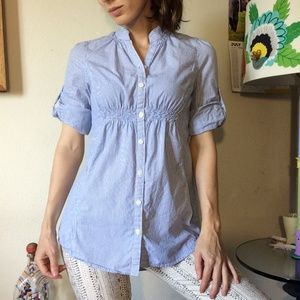Anthropologie Tops - Anthropologie Odille Baby Blue Striped Button Up